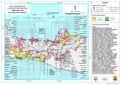 Peta Potensi Banjir Jateng Bulan Februari